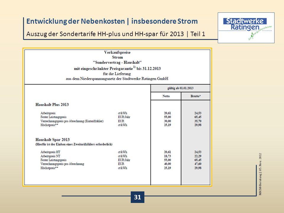 Auszug der Sondertarife HH-plus und HH-spar für 2013 | Teil 1