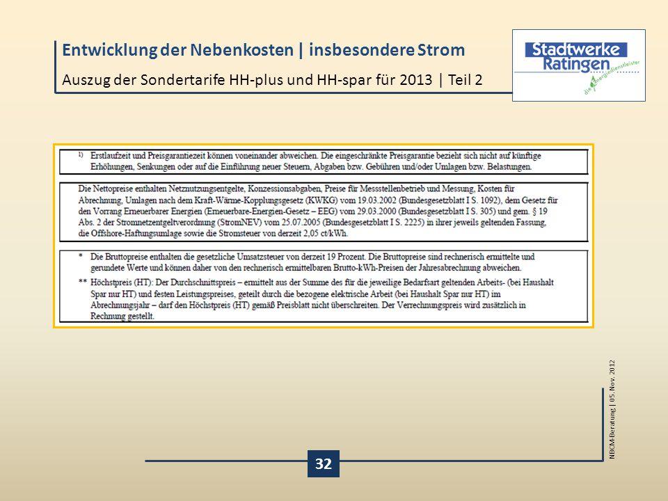 Auszug der Sondertarife HH-plus und HH-spar für 2013 | Teil 2