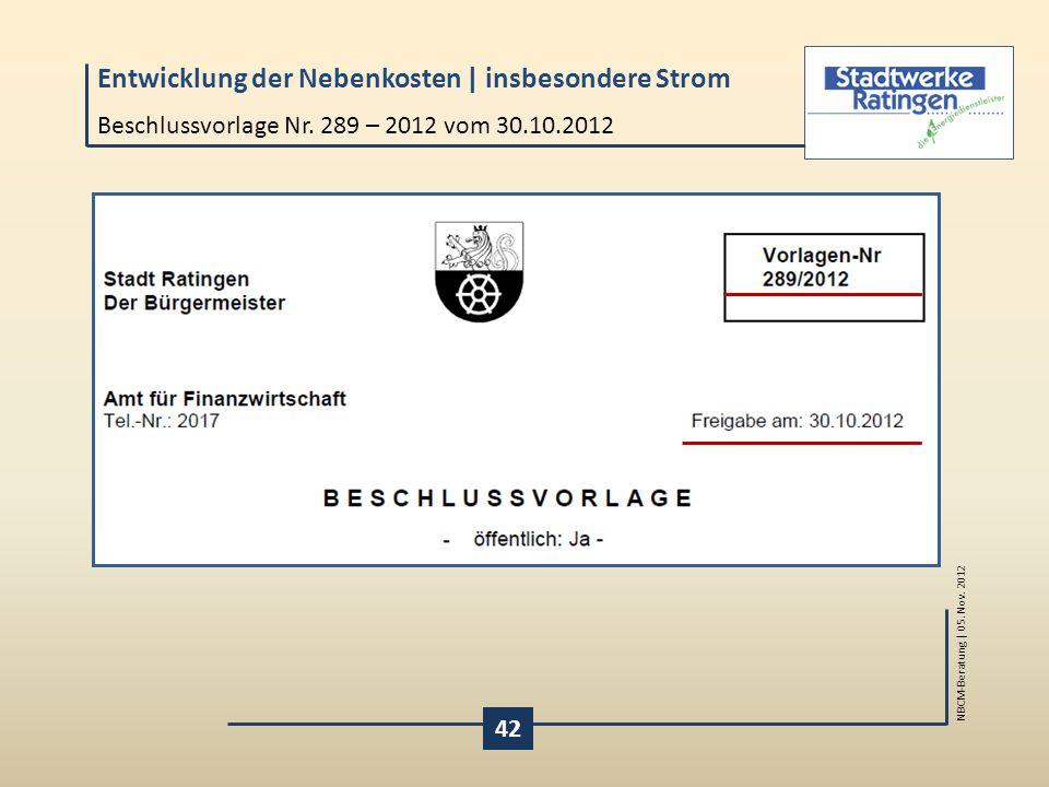 Beschlussvorlage Nr. 289 – 2012 vom 30.10.2012