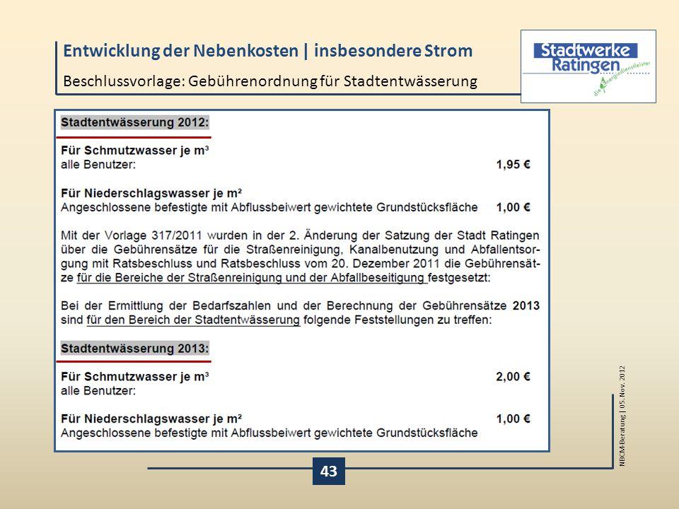 Beschlussvorlage: Gebührenordnung für Stadtentwässerung