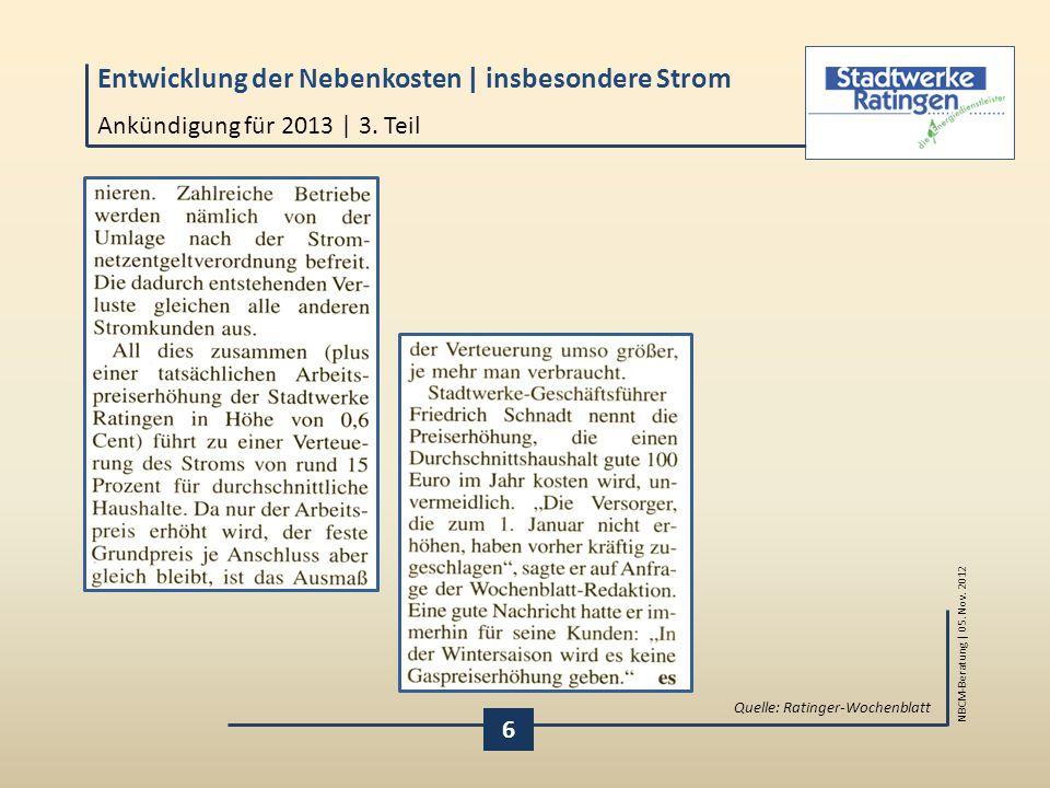 Ankündigung für 2013 | 3. Teil Quelle: Ratinger-Wochenblatt 6