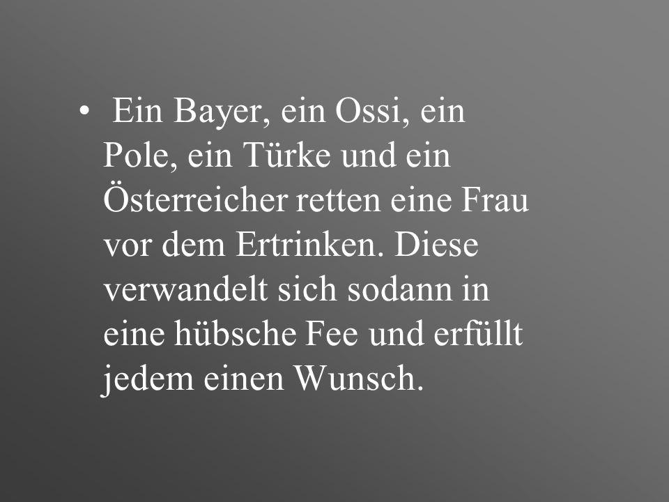 Ein Bayer, ein Ossi, ein Pole, ein Türke und ein Österreicher retten eine Frau vor dem Ertrinken.