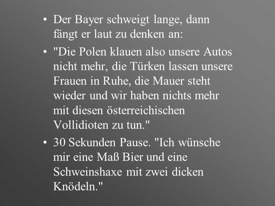 Der Bayer schweigt lange, dann fängt er laut zu denken an: