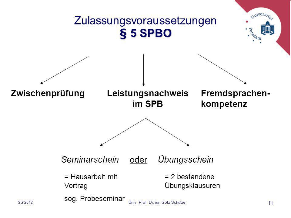 Zulassungsvoraussetzungen § 5 SPBO