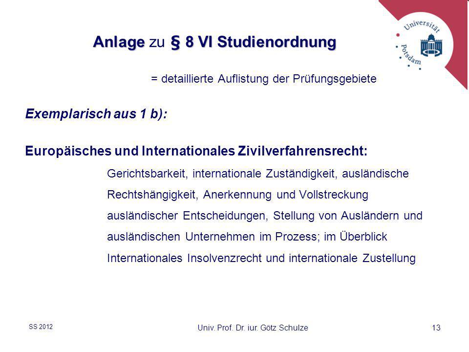 Anlage zu § 8 VI Studienordnung