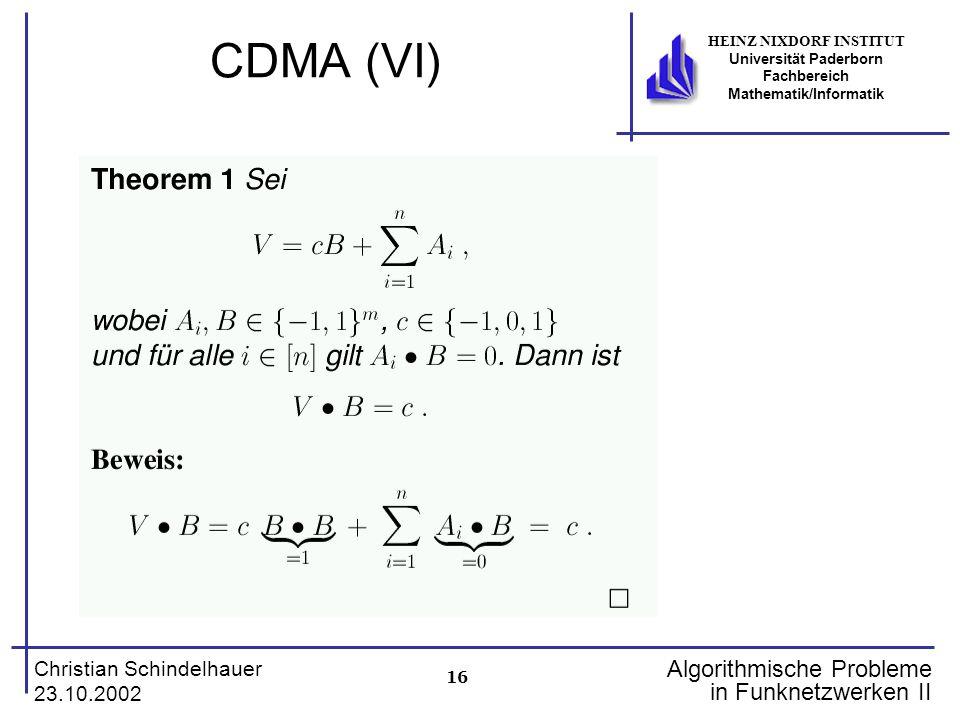 CDMA (VI)
