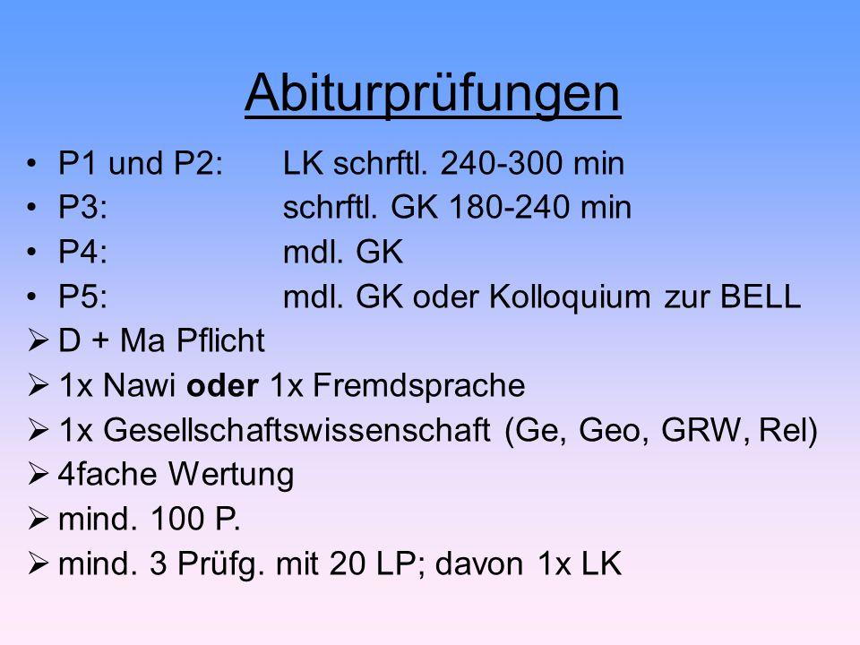 Abiturprüfungen P1 und P2: LK schrftl. 240-300 min