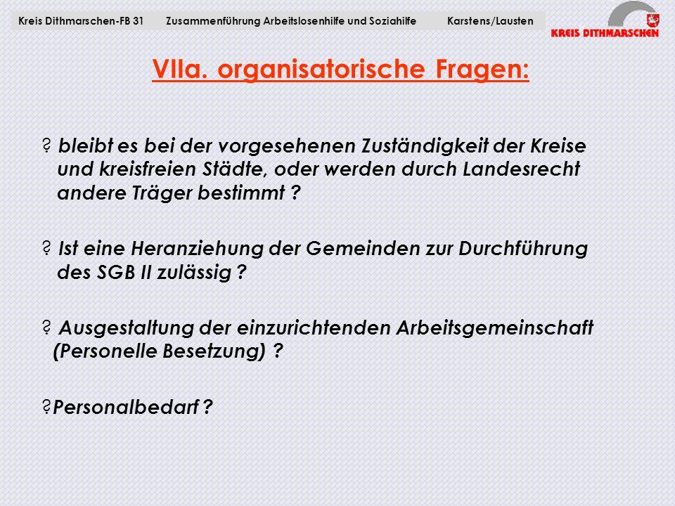 VIIa. organisatorische Fragen: