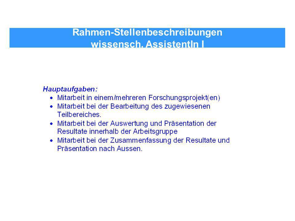 Rahmen-Stellenbeschreibungen wissensch. AssistentIn I