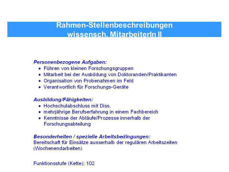 Rahmen-Stellenbeschreibungen wissensch. MitarbeiterIn II