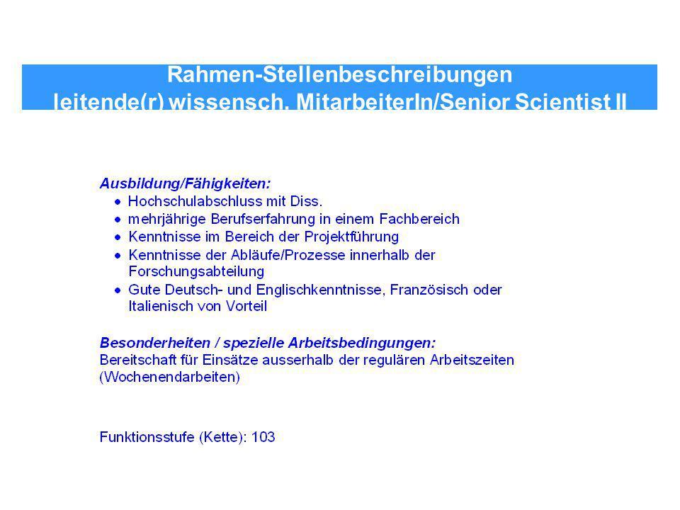 Rahmen-Stellenbeschreibungen leitende(r) wissensch