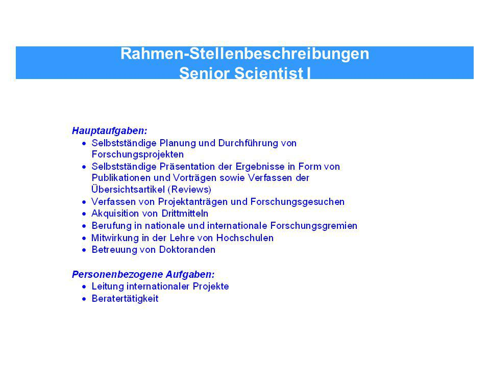 Rahmen-Stellenbeschreibungen Senior Scientist I