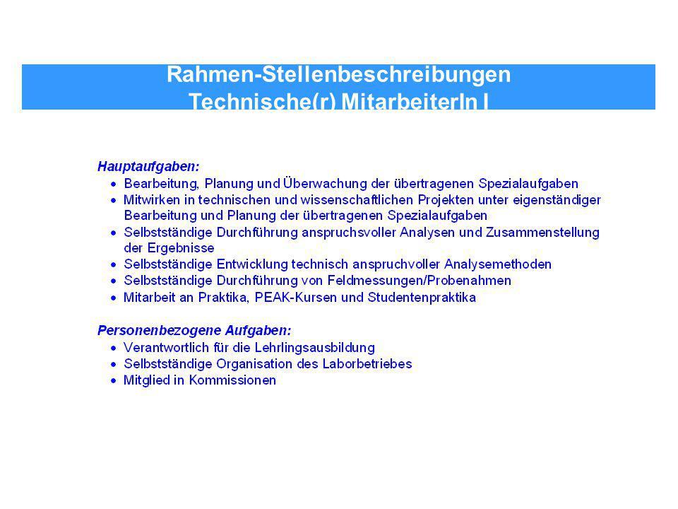 Rahmen-Stellenbeschreibungen Technische(r) MitarbeiterIn I