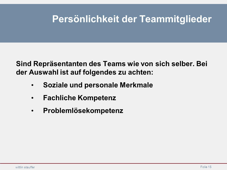 Persönlichkeit der Teammitglieder