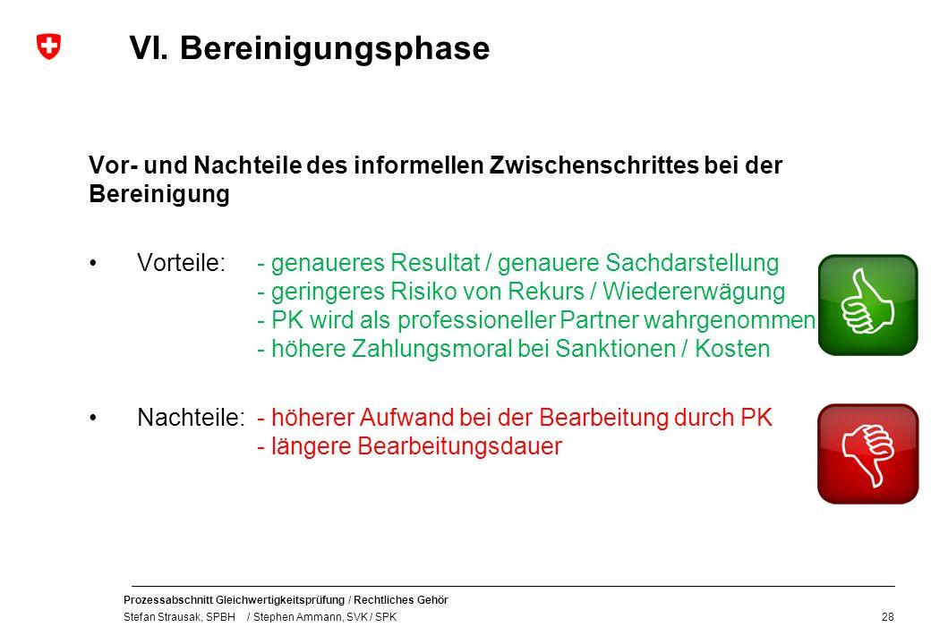 VI. Bereinigungsphase Vor- und Nachteile des informellen Zwischenschrittes bei der Bereinigung.