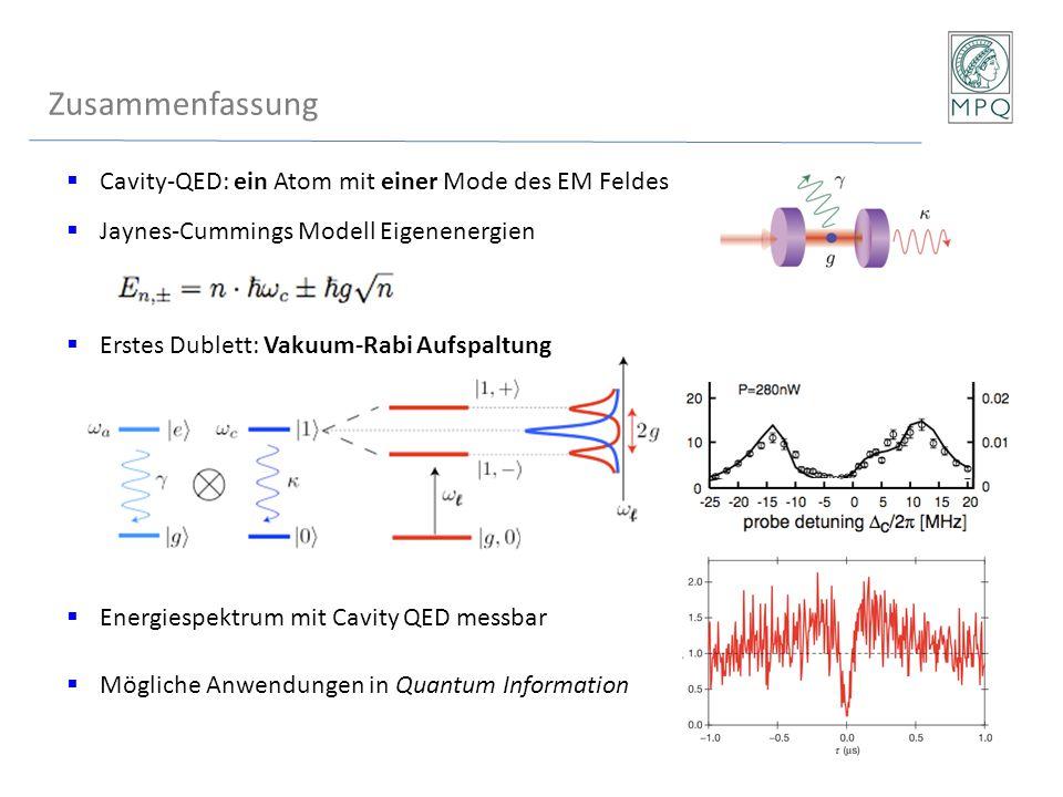 Zusammenfassung Cavity-QED: ein Atom mit einer Mode des EM Feldes