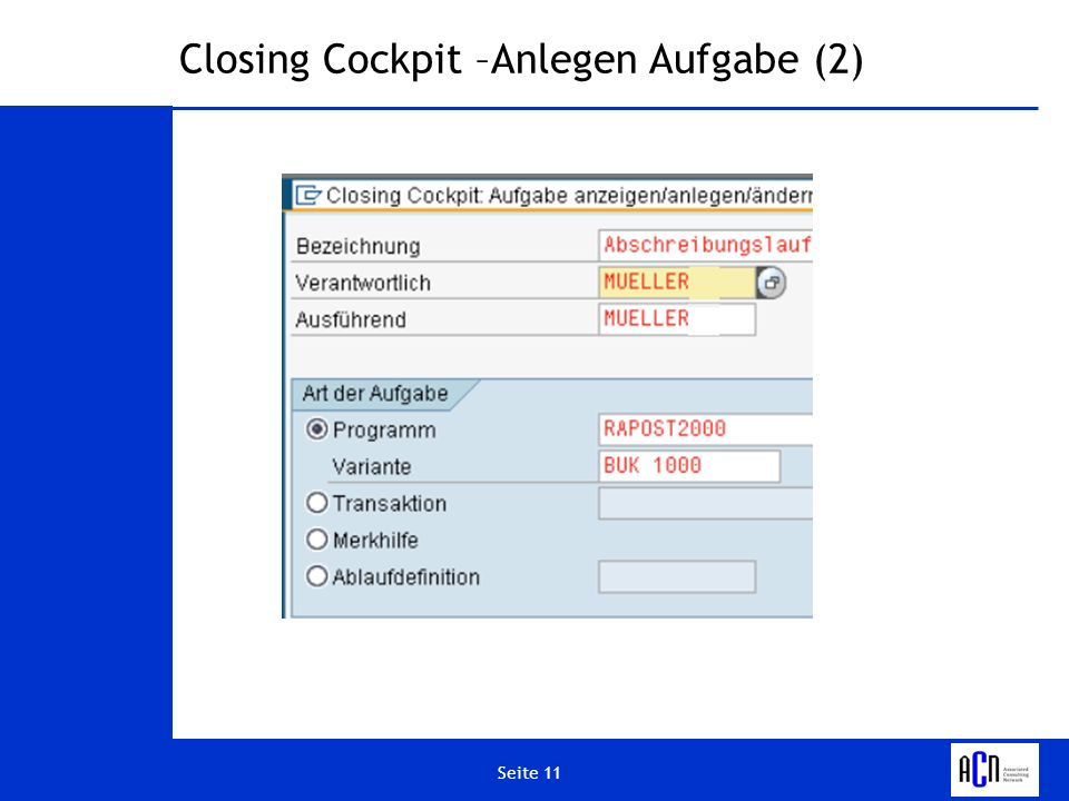 Closing Cockpit –Anlegen Aufgabe (2)