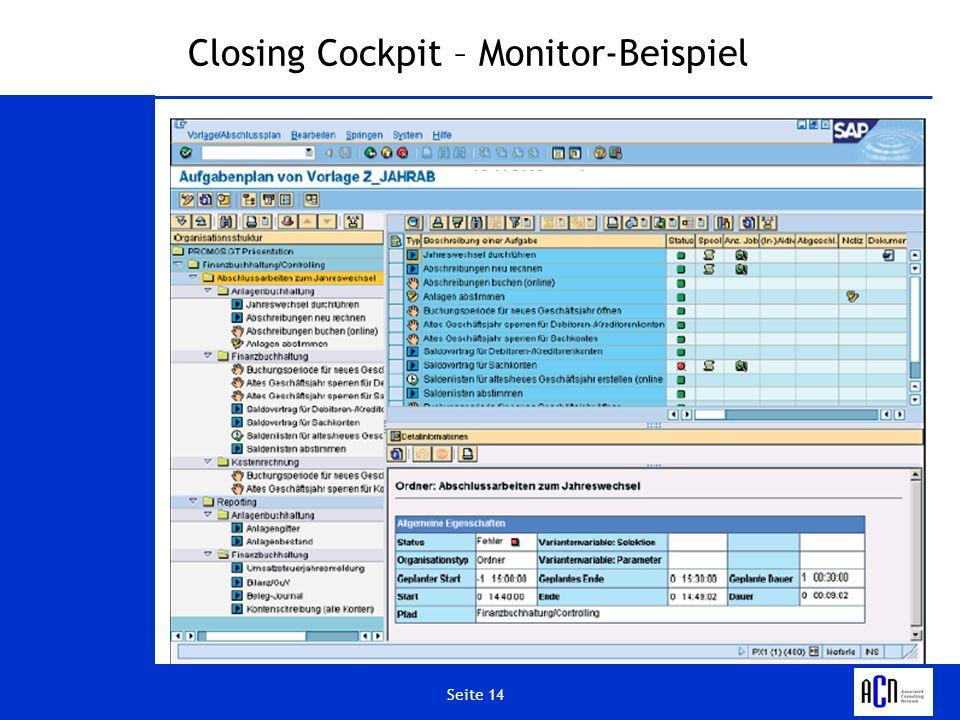 Closing Cockpit – Monitor-Beispiel