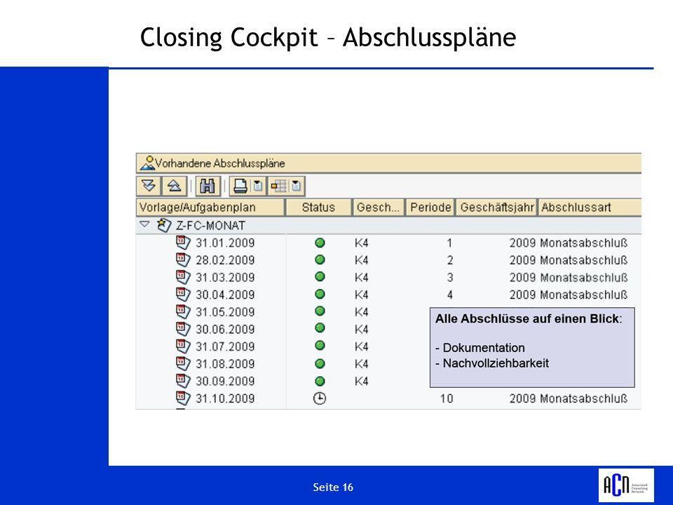 Closing Cockpit – Abschlusspläne