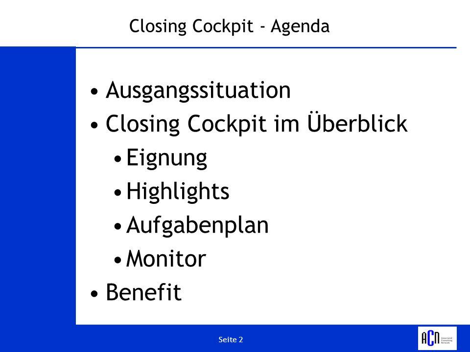 Closing Cockpit - Agenda
