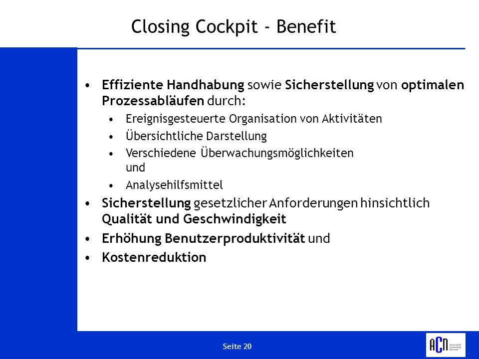 Closing Cockpit - Benefit