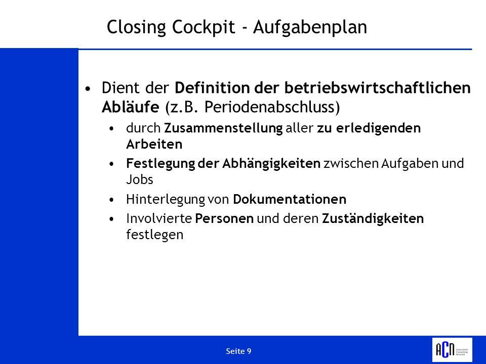 Closing Cockpit - Aufgabenplan