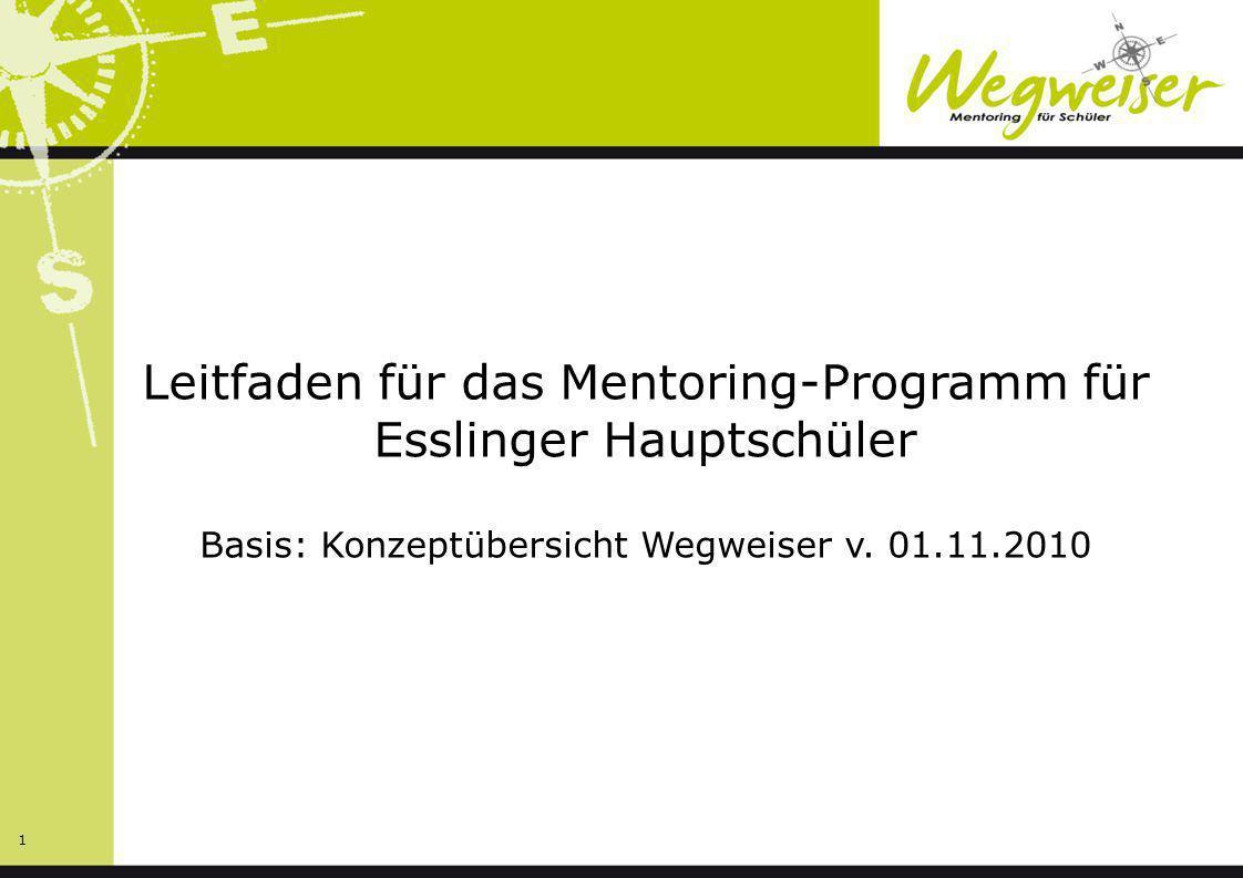 Leitfaden für das Mentoring-Programm für Esslinger Hauptschüler Basis: Konzeptübersicht Wegweiser v.