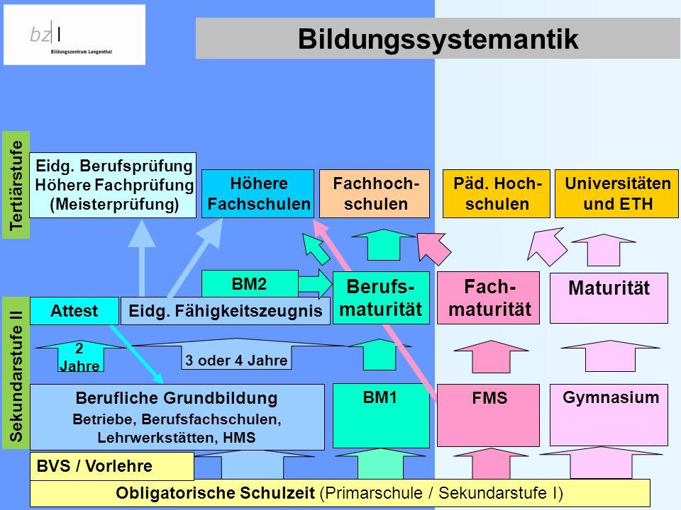 Bildungssystemantik Berufs- maturität Fach-maturität Maturität