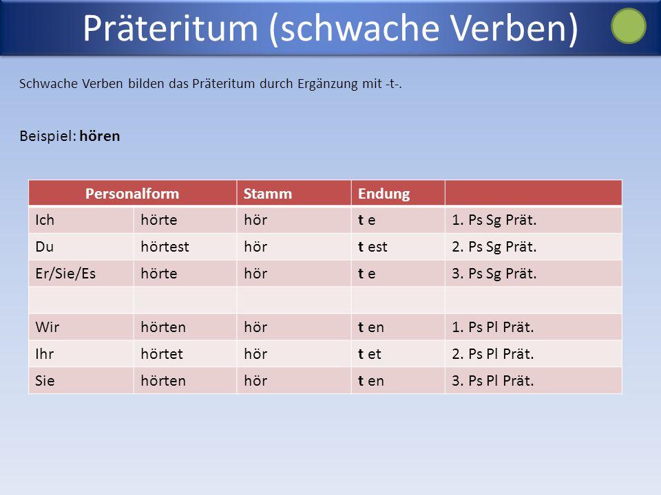 Präteritum (schwache Verben)