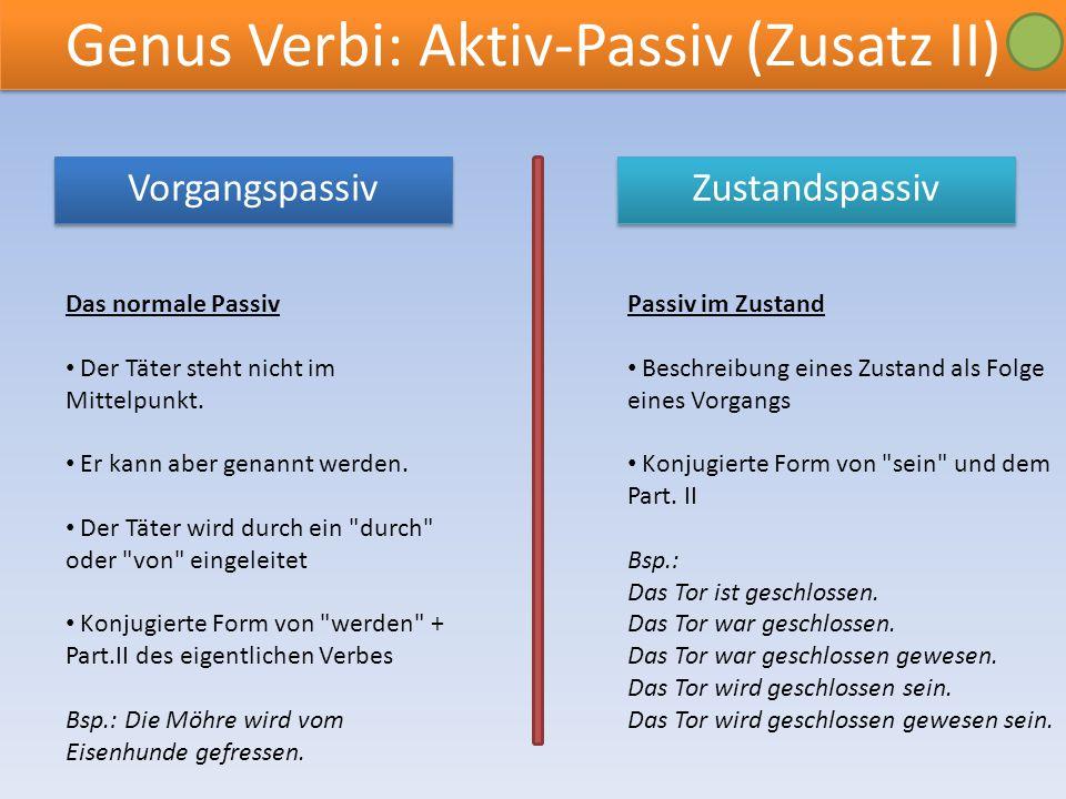 Genus Verbi: Aktiv-Passiv (Zusatz II)