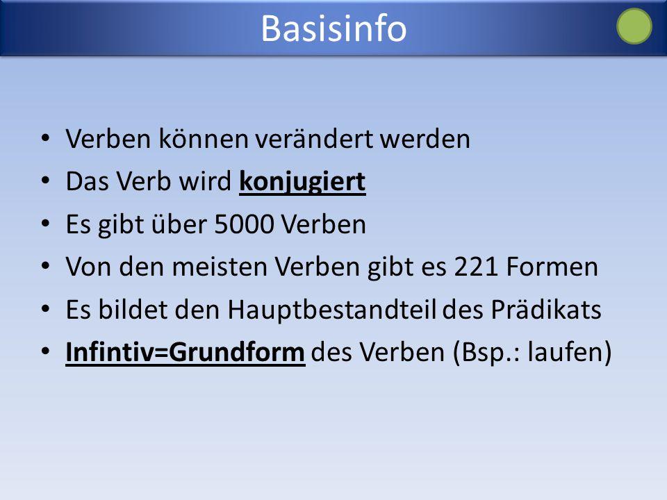 Basisinfo Verben können verändert werden Das Verb wird konjugiert