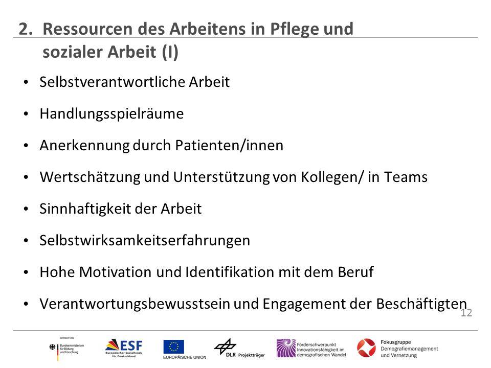 2. Ressourcen des Arbeitens in Pflege und sozialer Arbeit (I)
