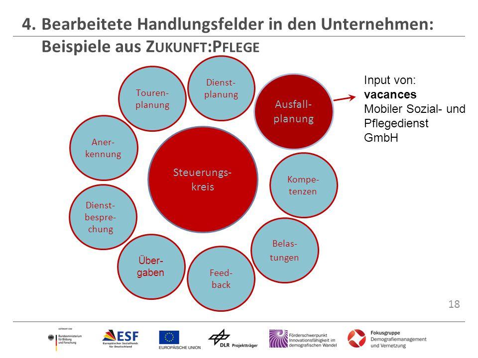 4. Bearbeitete Handlungsfelder in den Unternehmen: Beispiele aus Zukunft:Pflege