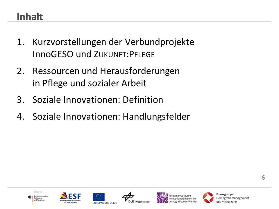 Inhalt Inhalt. Kurzvorstellungen der Verbundprojekte InnoGESO und Zukunft:Pflege. Ressourcen und Herausforderungen in Pflege und sozialer Arbeit.