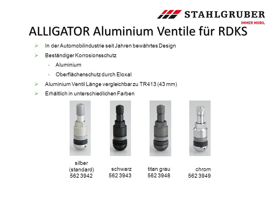 ALLIGATOR Aluminium Ventile für RDKS