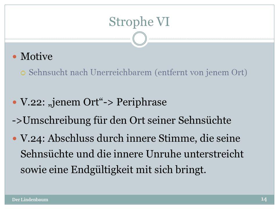 """Strophe VI Motive V.22: """"jenem Ort -> Periphrase"""