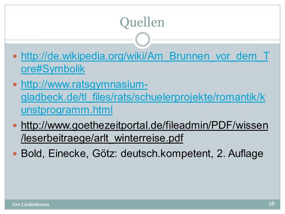 Quellen http://de.wikipedia.org/wiki/Am_Brunnen_vor_dem_Tore#Symbolik