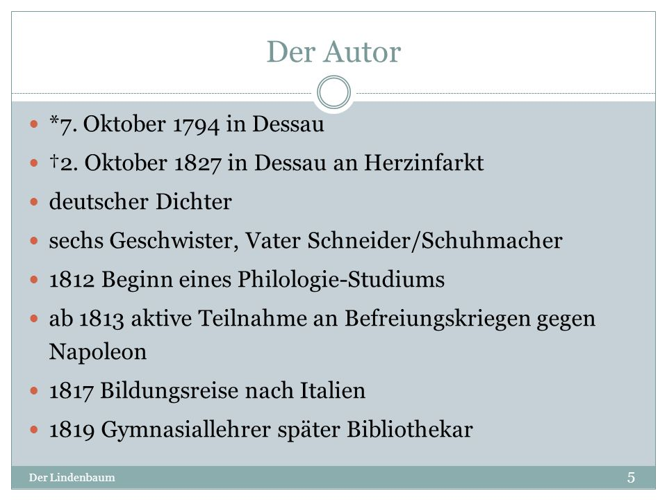 Der Autor *7. Oktober 1794 in Dessau