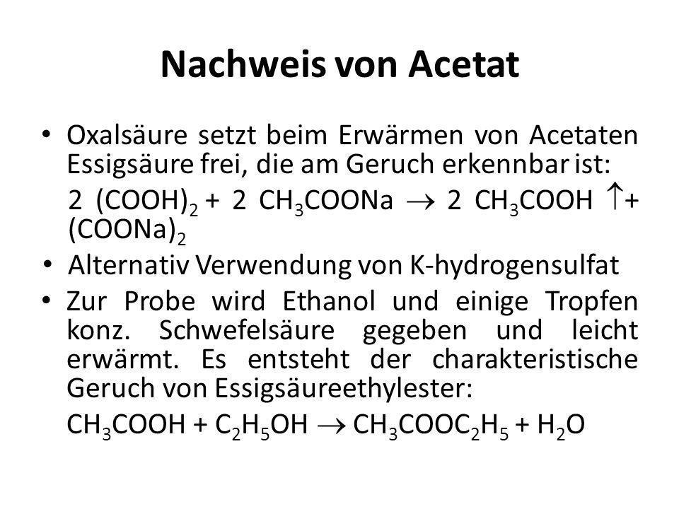 Nachweis von Acetat Oxalsäure setzt beim Erwärmen von Acetaten Essigsäure frei, die am Geruch erkennbar ist: