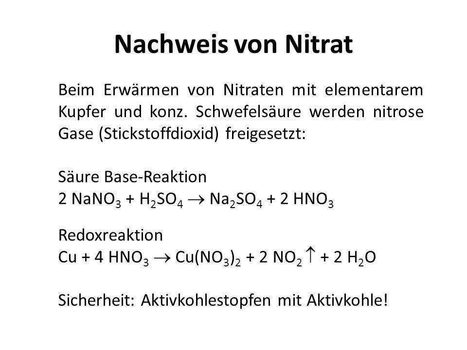 Nachweis von Nitrat Beim Erwärmen von Nitraten mit elementarem Kupfer und konz. Schwefelsäure werden nitrose Gase (Stickstoffdioxid) freigesetzt: