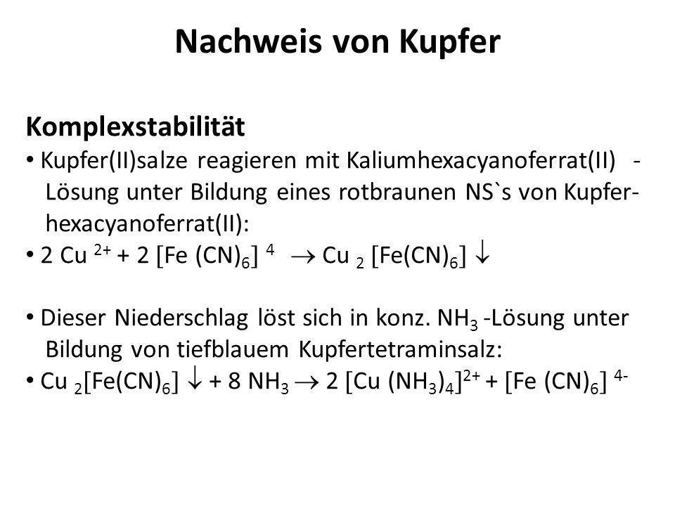 Nachweis von Kupfer Komplexstabilität