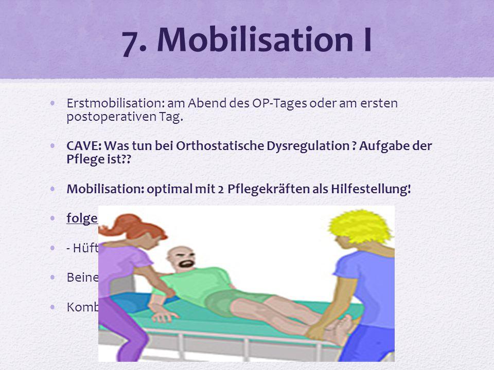 7. Mobilisation I Erstmobilisation: am Abend des OP-Tages oder am ersten postoperativen Tag.