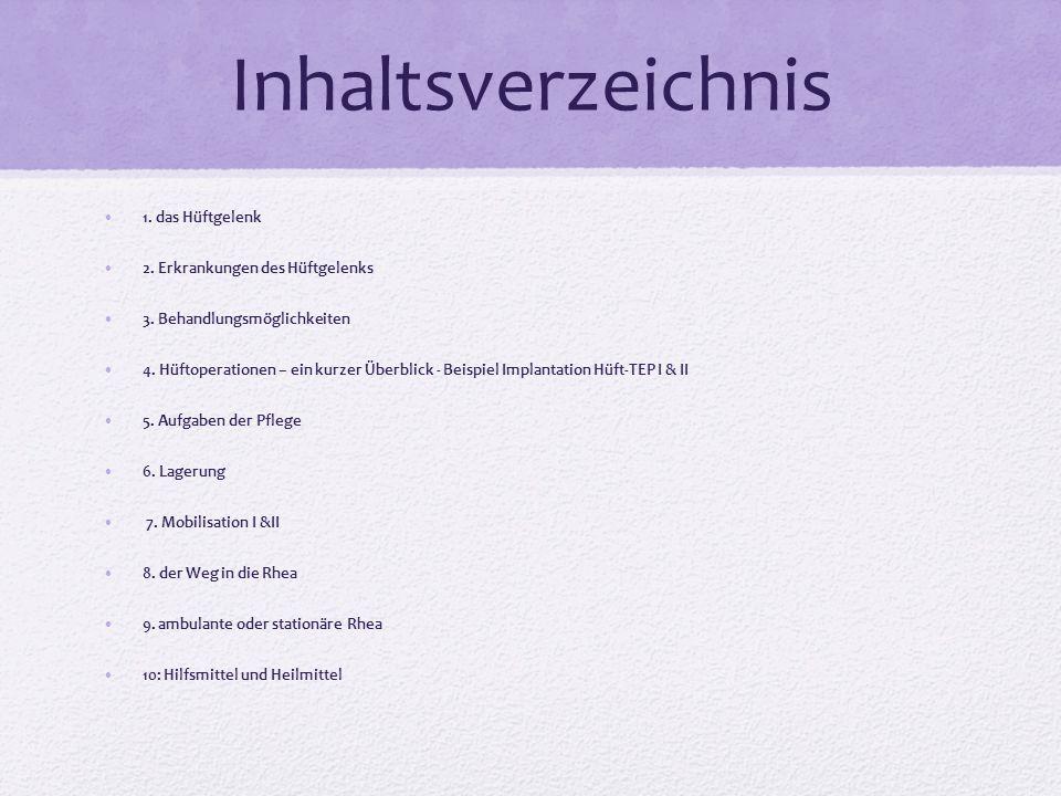 Inhaltsverzeichnis 1. das Hüftgelenk 2. Erkrankungen des Hüftgelenks