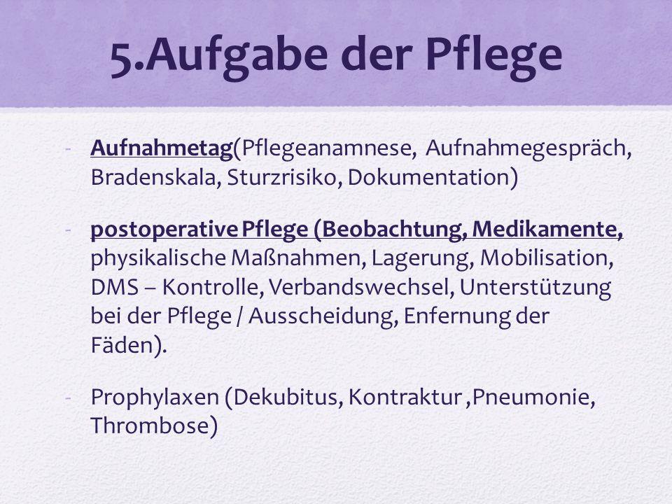 5.Aufgabe der Pflege Aufnahmetag(Pflegeanamnese, Aufnahmegespräch, Bradenskala, Sturzrisiko, Dokumentation)