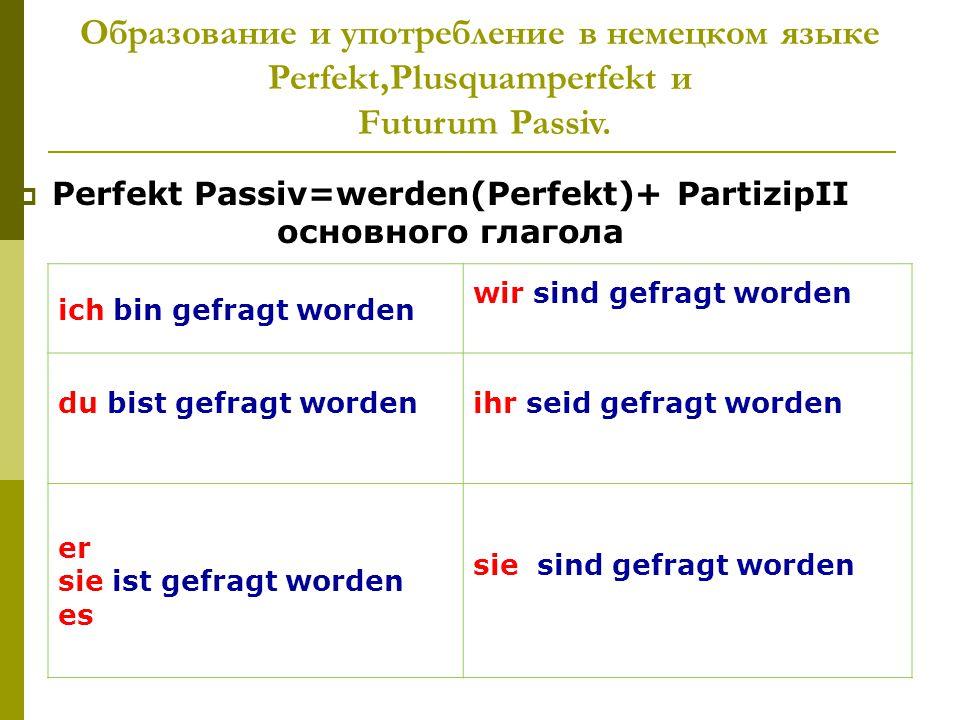 Perfekt Passiv=werden(Perfekt)+ PartizipII основного глагола