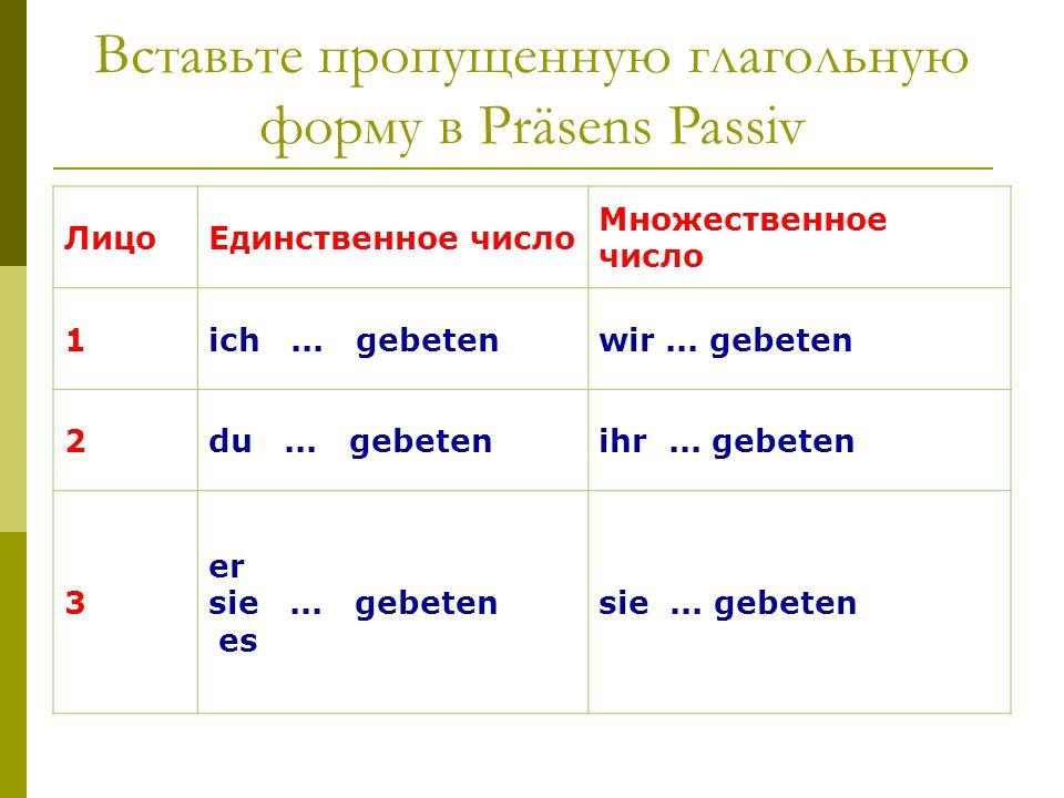 Вставьте пропущенную глагольную форму в Präsens Passiv
