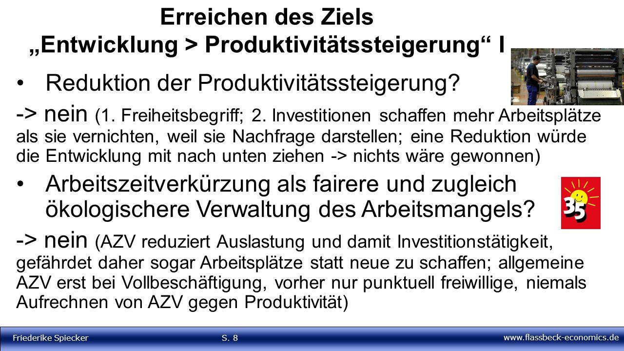 """Erreichen des Ziels """"Entwicklung > Produktivitätssteigerung I"""