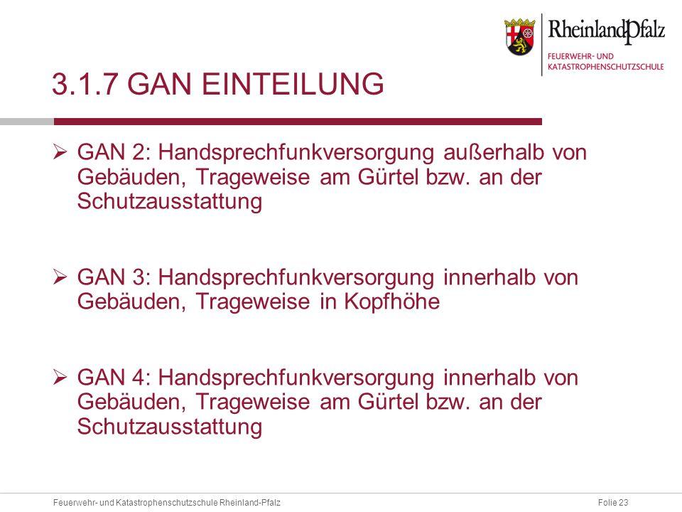 3.1.7 GAN Einteilung GAN 2: Handsprechfunkversorgung außerhalb von Gebäuden, Trageweise am Gürtel bzw. an der Schutzausstattung.