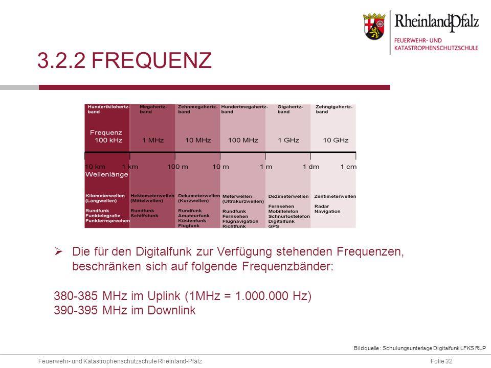 3.2.2 Frequenz Die für den Digitalfunk zur Verfügung stehenden Frequenzen, beschränken sich auf folgende Frequenzbänder: