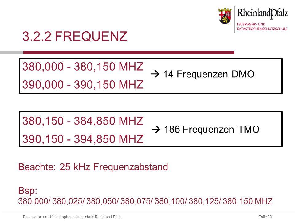 3.2.2 frequenz 380,000 - 380,150 MHZ 390,000 - 390,150 MHZ 380,150 - 384,850 MHZ 390,150 - 394,850 MHZ